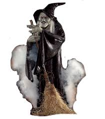 life size scary halloween haunted house flying witch animated prop