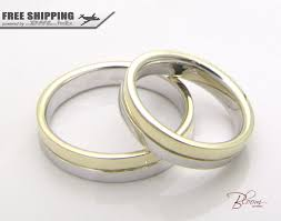 two tone wedding bands two tone wedding band 14k solid gold wedding rings gold