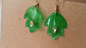plastic bottle earrings make pretty plastic bottle leaf earrings diy style