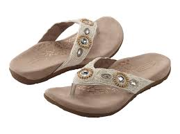 Silver Comfort Sandals Brittany Beaded Thong Cream Womens Comfort Sandal Aetrex