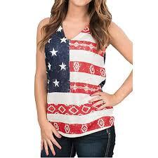 Flag Crop Top Flag Printed Women Sleeveless Deep V Neck Crop Tops T Shirt Casual