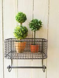 metal wire bin wall organizer bathroom fruit vintage inspired
