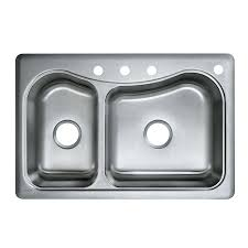 shop kohler staccato 22 in x 33 in double basin stainless steel