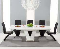 malaga 180cm white high gloss extending dining table with