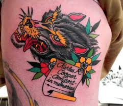neo traditional wolf tattoos chainimage