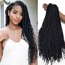 best hair for faux locs amazon com 20 inch black curly faux locs crochet hair 6 packs soft