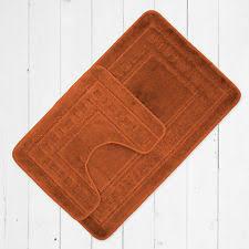 Non Slip Bath And Pedestal Mats Luxury 2 Piece Anti Slip Bathroom Mat Set Terracotta Ebay