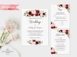 vista print wedding invitation printable burgundy floral wedding invitation set editable pdf