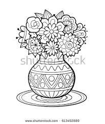 vase flowers geometric ornament standing on stock vector 613492889