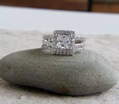 princess cut wedding set 925 sterling silver set of 2 3 5 ct cz princess cut halo bridal