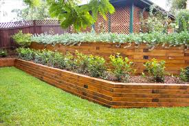 Rustic Outdoor Bench by Fence Smooth Cinder Block And Landscape Timber Fence Grey Concrete