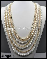 short chain pearl necklace images Wholesales fashion 2014 multi strand gold long chain pearl jpg