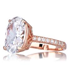 cz engagement ring oval cut 5 carat goldtone cz engagement ring