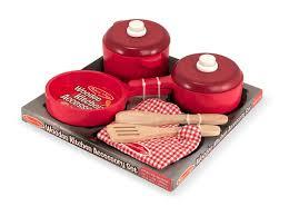 Play Kitchen Red Amazon Com Melissa U0026 Doug Deluxe Wooden Kitchen Accessory Set