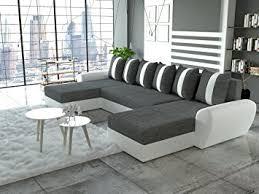 canapé d angle en u canapé d angle en u convertible tiger tissu gris et simili cuir