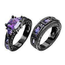 black promise rings images European style amethyst two pieces promise rings for jpg