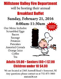 annual breakfast buffet millstone valley fire department