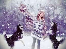 husky dogs girls winter snow sweater