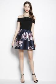 black floral print off the shoulder short dress 68 ck2053