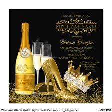 50th Birthday Invitation Card Pearls High Heel Shoes Black Gold Womans Birthday 5x7 Paper