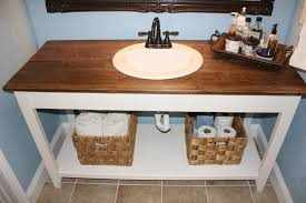 diy reclaimed wood bathroom vanity with single sink and bathroom