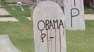 tombstone decorations woman upset obama tombstone decoration