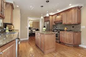 kitchen with center island kitchen in suburban home with center island stock photo picture