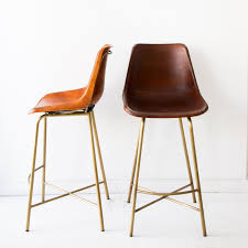 Brown Leather Bar Stool A Saloon Style Bar Stool Made Of Hand Whip Stitched Leather And