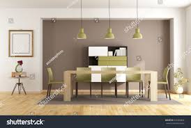 modern dining room wooden table chairs stock illustration
