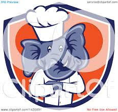 clipart of a cartoon elephant chef man with folded arms in a blue