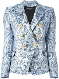 balmain leather jacket online blue and white stretch cotton