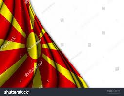 Flag Of Macedonia Flag Macedonia Silk Gently Folded On Stock Illustration 297631844