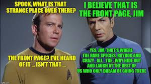 Kirk Meme - image tagged in memes star trek captain kirk spock front page