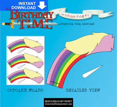 adventure time cupcake wraps instant printable