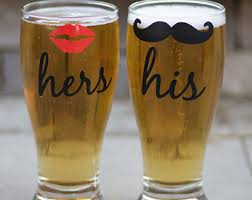 His And Hers Wedding Gifts His And Hers Beer Glasses 2 With Lips And Mustache Pilsner
