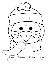 penguin color by number funnycrafts