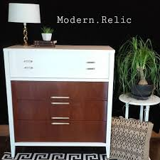 painted two toned mid century modern tallboy dresser by kroehler