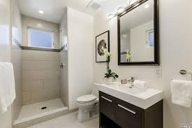 contemporary 3 4 bathroom with european cabinets u0026 limestone tile