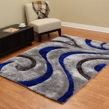 3d Area Rugs 3d Shaggy 806 Abstract Wavy Swirl Design Electric Blue Color Area