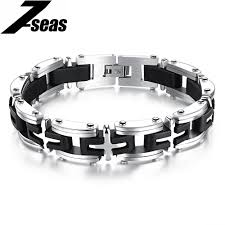 men white gold bracelet images Punk style cross design white gold man 39 s link chain bracelets jpg