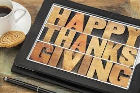 happy thanksgiving on digital tablet pixels away stock photography