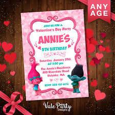 Birthday Day Cards Trolls Invitation Trolls Valentine S Day Card Trolls Birthday