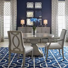 Round Dining Sets Gretta Hollywood Regency Steel Inlay Grey Round Dining Table