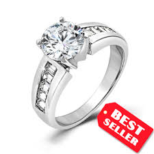 925 sterling silver engagement rings solitaire cz engagement ring in sterling silver 4ct