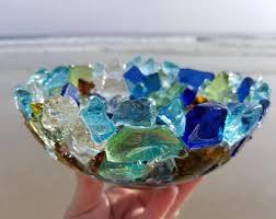Aqua Glass Bowl Coral Bowl Glass Bowls Beach Glass Art