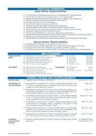 office admin resume cv resume sample for fresh graduate of office administration