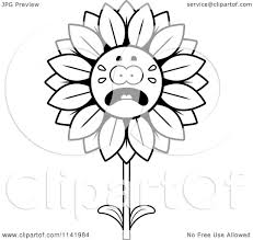 cartoon clipart of a black and white scared sunflower character