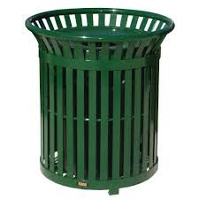 Green Kitchen Trash Can Toter 96 Gal Green Trash Can With Wheels And Attached Lid 025596