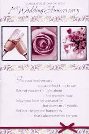 congratulations on your 1st wedding anniversary card cards