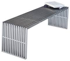 Modern Indoor Benches Lanser Bench Brushed Metal Modern Indoor Benches By Pangea Home